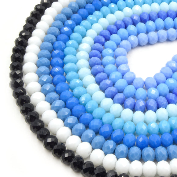 Chinese Crystal Beads | 8mm Faceted Opaque Rondelle Shaped Crystal Beads | Black White Blue Light Blue Teal