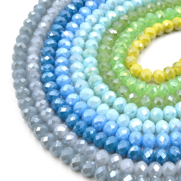 Chinese Crystal Beads | 8mm Faceted AB Coated Rondelle Shaped Crystal Beads | Gray, Blue, Green, Yellow