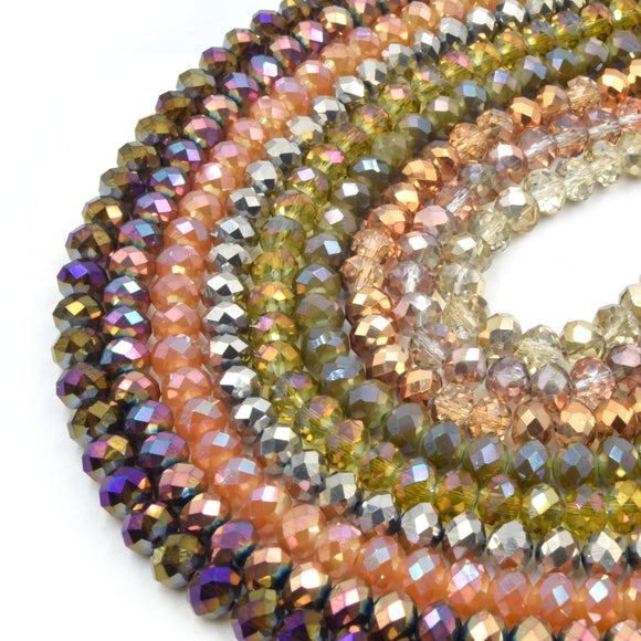 Chinese Crystal Beads | 8mm Faceted Metallic Rondelle Shaped Crystal Beads | Gold Brown Rose Gold Champagne