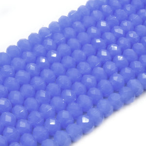 Chinese Crystal Beads | 8mm Faceted Semi Opaque Rondelle Shaped Crystal Beads | Blue Green