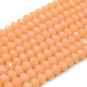 Chinese Crystal Beads | 8mm Faceted Semi Opaque Rondelle Shaped Crystal Beads | Peach Pink Clear