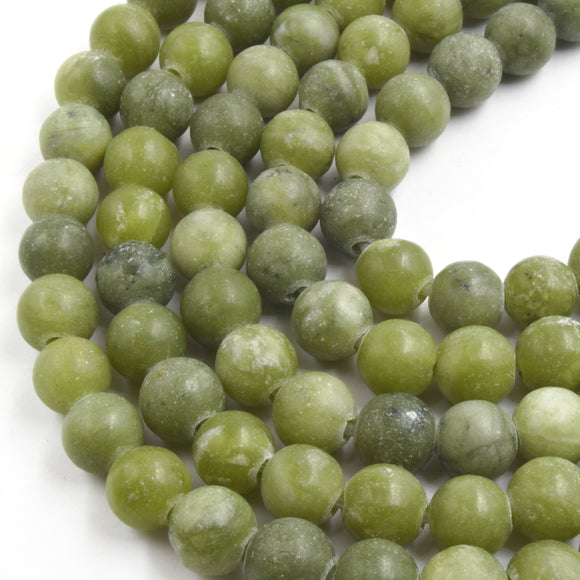 Large Hole Jade Beads | Green Jade Matte Finish Round/Ball Shaped Beads with 2.5mm Holes - 7.75
