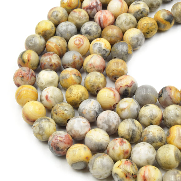 Large Hole Crazy Lace Agate Bead | Mixed Yellow/Gray Crazy Lace Agate Smooth Round Shaped Beads - 7.5