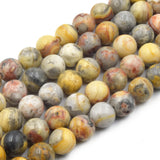 "Large Hole Crazy Lace Agate Bead | Mixed Yellow/Gray Crazy Lace Agate Smooth Round Shaped Beads - 7.5"" Strand"