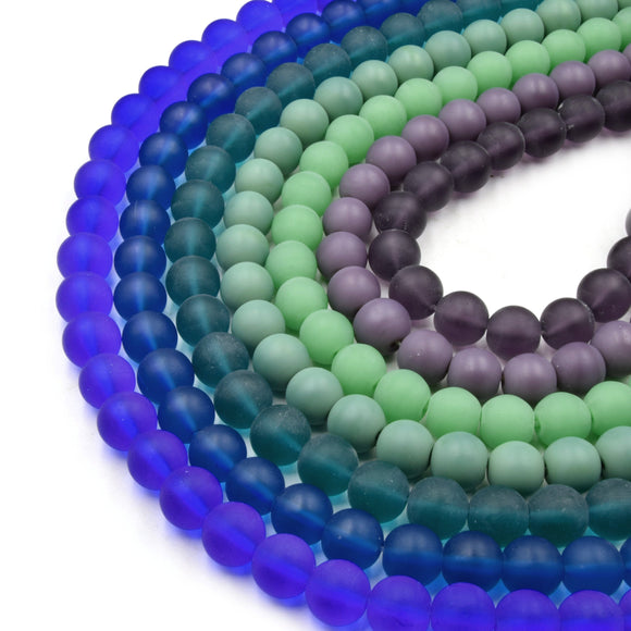 Indian Glass Beads | 10mm Matte Round Shaped Indian Beach Glass Beads | Purple Blue Green Available