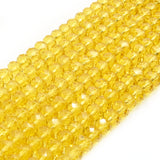 Chinese Crystal Beads | 6mm Faceted Transparent Rondelle Shaped Crystal Beads | Brown Tan Yellow Orange