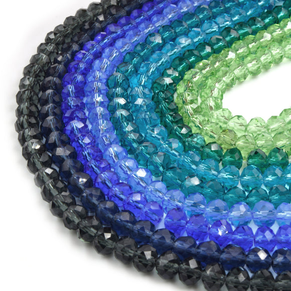 Chinese Crystal Beads | 6mm Faceted Transparent Rondelle Shaped Crystal Beads | Gray Blue Teal Green
