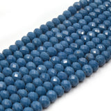 Chinese Crystal Beads | 6mm Faceted Opaque Rondelle Shaped Crystal Beads | Navy Blue Aqua