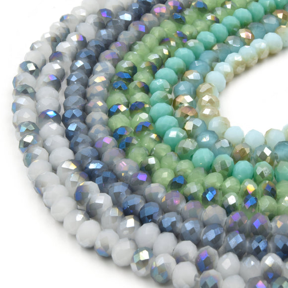 Chinese Crystal Beads | 6mm Faceted Bi-Color Metallic Rondelle Shaped Crystal Beads | Blue Green White Aqua