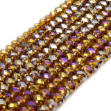 Chinese Crystal Beads | 6mm Faceted Bi-Color Metallic Rondelle Shaped Crystal Beads | Purple Pink White