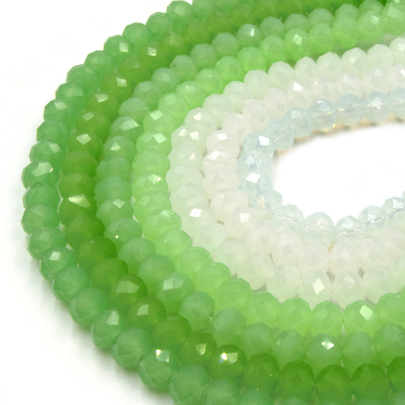 Chinese Crystal Beads | 6mm Faceted Semi-Opaque Rondelle Shaped Crystal Beads | Green White