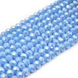 Chinese Crystal Beads | 6mm Faceted AB Coated Rondelle Shaped Crystal Beads | Blue Green