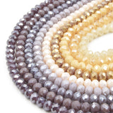 Chinese Crystal Beads | 6mm Faceted AB Coated Rondelle Shaped Crystal Beads | Peach, Tan, Purple, Lavender