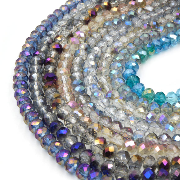 Chinese Crystal Beads | 6mm Faceted Translucent AB Coated Rondelle Shaped Crystal Beads | Blue Purple