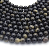 Golden Obsidian Bead | Gold Sheen Black Round Smooth Finish Gemstone Beads | 4mm 6mm 8mm 10mm 12mm Available