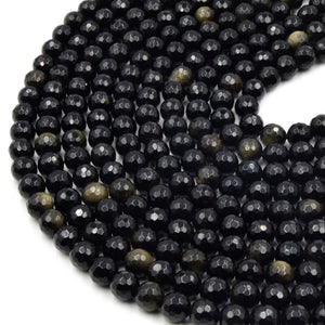 Faceted Golden Obsidian Bead | Gold Sheen Black Round Faceted Finish Gemstone Beads | 4mm 6mm 8mm 10mm 12mm Available