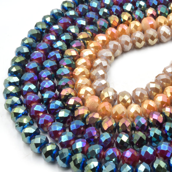 Chinese Crystal Beads | 10mm Faceted Metallic AB Rondelle Shaped Crystal Beads | Blue Purple White Gray Available
