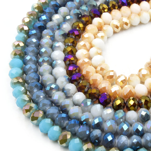 Chinese Crystal Beads | 10mm Faceted Bi-color AB Rondelle Shaped Crystal Beads | Blue Purple White Gray Available