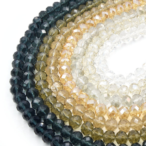 Chinese Crystal Beads | 10mm Faceted Transparent Rondelle Shaped Crystal Beads | Neutral Colors Available