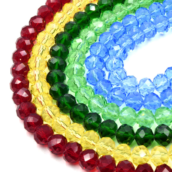 Chinese Crystal Beads | 10mm Faceted Transparent Rondelle Shaped Crystal Beads | Red Blue Green Yellow Available