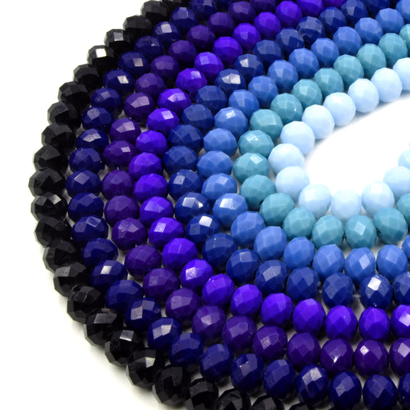 Chinese Crystal Beads | 10mm Faceted Opaque Rondelle Shaped Crystal Beads | Black Blue, Green