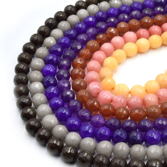 Faceted Jade Beads | 8mm Faceted Dyed Brown Red Orange Purple Jade Round Beads with 1mm Holes - Sold by 15.5
