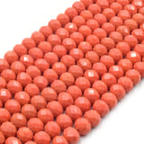 Chinese Crystal Beads | 8mm Faceted Opaque Rondelle Shaped Crystal Beads | Red Orange Gray Peach Pink Purple