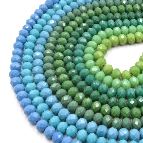 Chinese Crystal Beads | 8mm Faceted Opaque Rondelle Shaped Crystal Beads | Teals, Greens