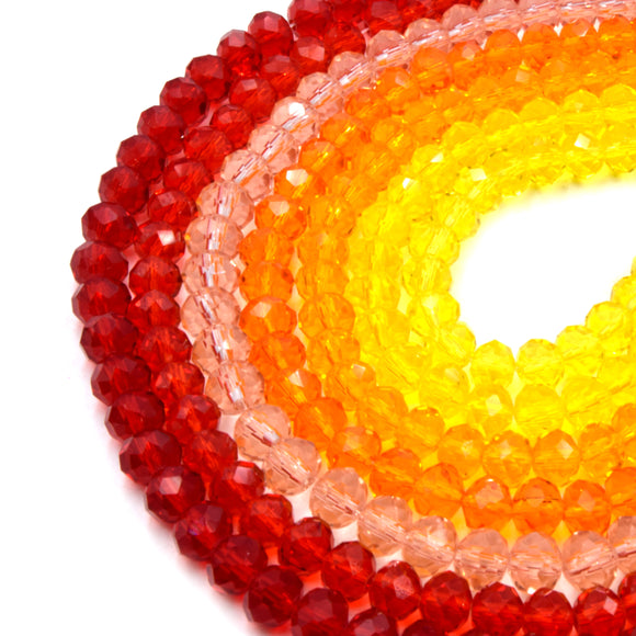 Chinese Crystal Beads | 8mm Faceted Transparent Rondelle Shaped Crystal Beads | Red Orange Pink Yellow