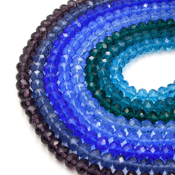 Chinese Crystal Beads | 8mm Faceted Transparent Rondelle Shaped Crystal Beads | Blue Green Purple