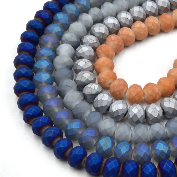 Chinese Crystal Beads | 8mm Faceted Matte Rondelle Shaped Crystal Beads | Blue Gray Orange Silver