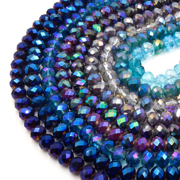 Chinese Crystal Beads | 8mm Faceted Metallic AB Coated Rondelle Shaped Crystal Beads | Purple Blue Plum Peacock Aqua