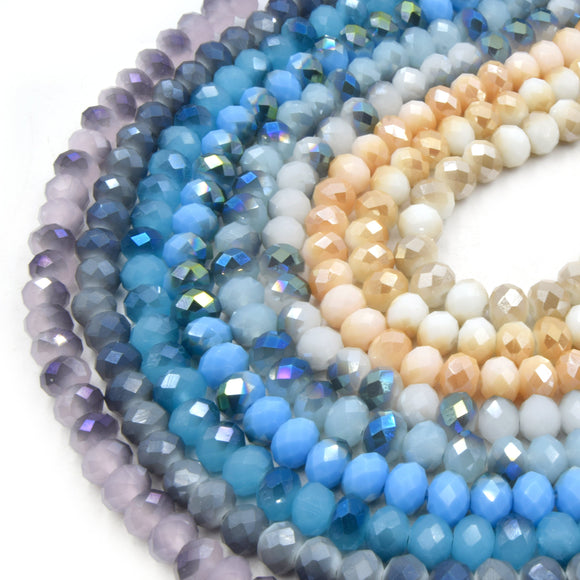 Chinese Crystal Beads | 8mm Faceted Bi Color Rondelle Shaped Crystal Beads