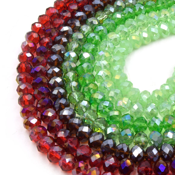 Chinese Crystal Beads | 8mm Faceted AB Coated Transparent Rondelle Shaped Crystal Beads | Red Green