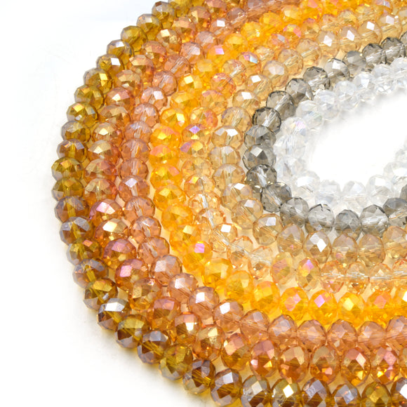 Chinese Crystal Beads | 8mm Faceted Tranansparent AB Rondelle Shaped Crystal Beads | Amber, Orange, Tan, Clear