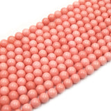 Dyed Smooth Jade Beads | Dyed Salmon Pink Round Gemstone Beads - 6mm 8mm 10mm 12mm Available