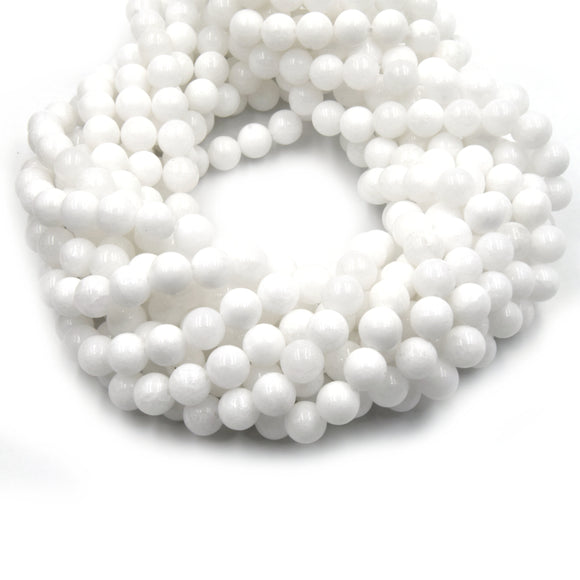 Dyed Smooth Jade Beads | Dyed Semi-Opaque White Round Gemstone Beads - 6mm 8mm 10mm 12mm Available