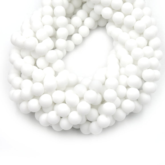 Dyed Matte Jade Beads | Dyed Opaque White Round Gemstone Beads - 4mm 6mm 8mm 10mm 12mm Available