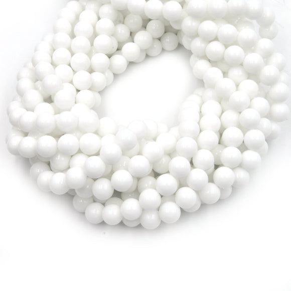 Dyed Glossy Jade Beads | Dyed Opaque White Round Gemstone Beads - 8mm 10mm 12mm Available