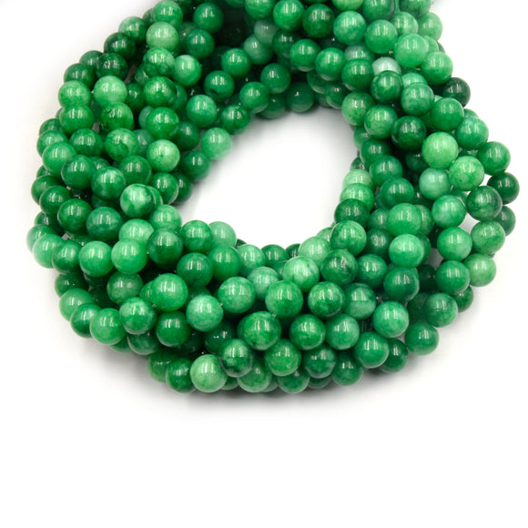 Dyed Smooth Jade Beads | Dyed Mottled Green Round Gemstone Beads - 8mm 10mm Available