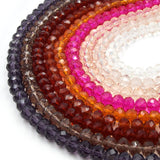 Chinese Crystal Beads | 6mm Faceted Transparent Rondelle Shaped Crystal Beads | Purple Red Pink Clear