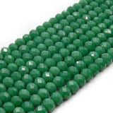 Chinese Crystal Beads | 6mm Faceted Opaque Rondelle Shaped Crystal Beads | Green, Teal