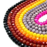 Chinese Crystal Beads | 6mm Faceted Opaque Rondelle Shaped Crystal Beads | Black Red Orange Pink Purple