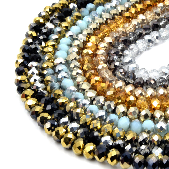 Chinese Crystal Beads | 6mm Faceted Bi-Color Metallic Rondelle Shaped Crystal Beads | Gold, Silver, Black, Blue