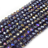 Chinese Crystal Beads | 6mm Faceted Metallic AB Rondelle Shaped Crystal Beads | Blue Peacock Titanium Peach