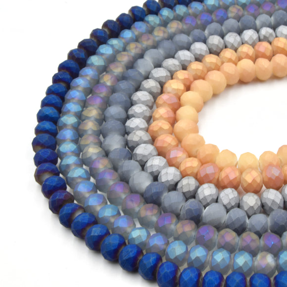 Chinese Crystal Beads | 6mm Faceted Matte Rondelle Shaped Crystal Beads | Blue Silver Gray Peach Pink