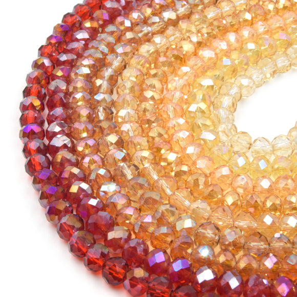 Chinese Crystal Beads | 6mm Faceted Transparent AB Coated Rondelle Shaped Crystal Beads | Red Orange Tan Cream