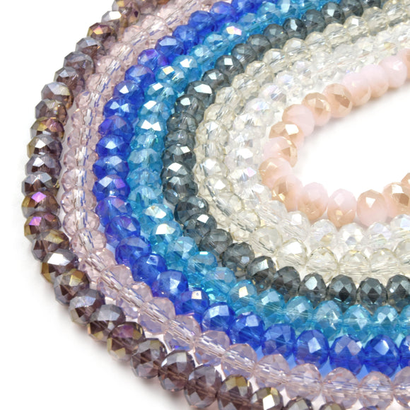 Chinese Crystal Beads | 6mm Faceted Transparent AB Coated Rondelle Shaped Crystal Beads | Purple Blue Pink