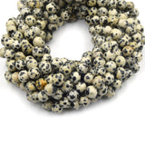 Dalmatian Jasper Beads | Faceted Round Natural Gemstone Beads - 4mm 6mm 8mm 10mm 12mm 14mm