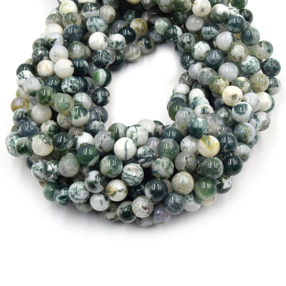 Tree Agate Beads | Smooth Round Natural Agate Beads - 4mm 6mm 8mm 10mm 12mm